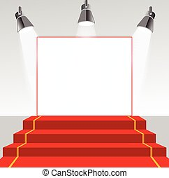 Illuminated picture pedestal with red carpet