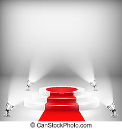 Illuminated Podium With Red Carpet. Vector Illustration.