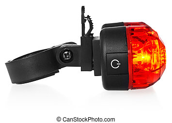 Illuminated rear bike lamp, plastic in a red color.