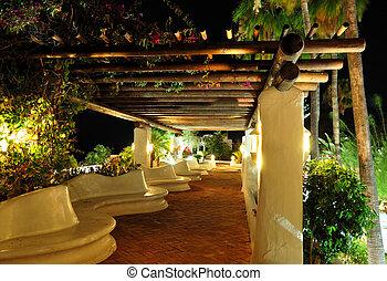 Illuminated recreation area of luxury hotel, Tenerife island, Spain