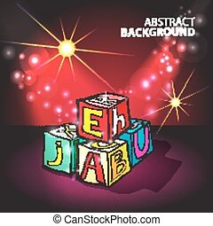 Illuminated red background with children's cubes with letters