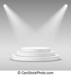 Illuminated round white stage podium.