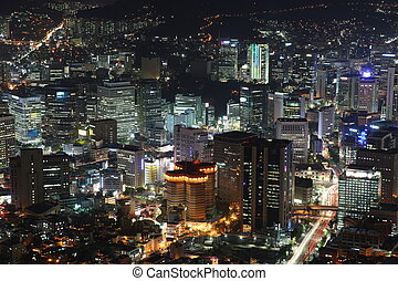Illuminated Seoul City in South Korea at night from high above