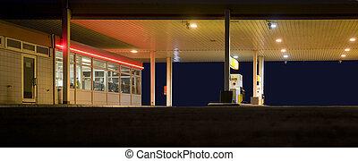 service station - illuminated service station near highway ...