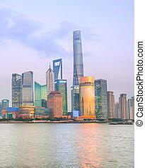 Illuminated Shanghai Downtown at twilight