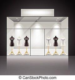 Illuminated shop showcase interior
