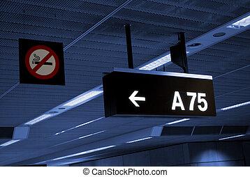 signboard and smoking forbidden sigh