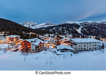 Illuminated Ski Resort of Madonna di Campiglio in the Evening, Italian Alps, Italy