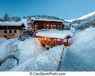 Illuminated Ski Resort of Madonna di Campiglio in the Morning, Italian Alps, Italy
