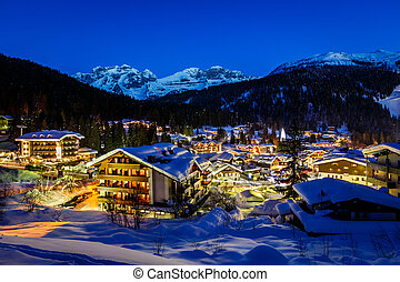 Illuminated Ski Resort of Madonna di Campiglio in the...