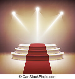 Illuminated stage podium for award ceremony vector ...