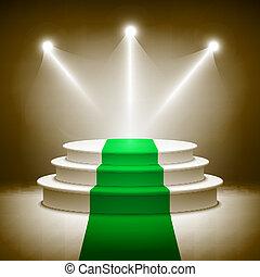 Illuminated stage podium for award ceremony vector