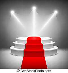 Illuminated stage podium for award ceremony vector ...