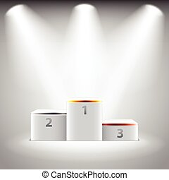 Illuminated stage podium for winners vector