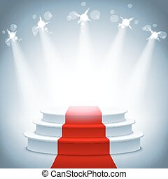 Illuminated stage podium red carpet award ceremony vector illustration