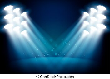 Illuminated stage with scenic lights vector background -...