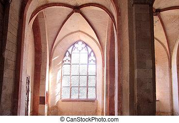 Illuminated stained-glass windows in the Cistercian monastery Kiedrich, Rheingau, Hesse, Germany