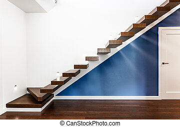 Illuminated stairs in modern house - Illuminated stairs in a...