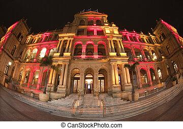Illuminated Treasury Building Brisbane Australia