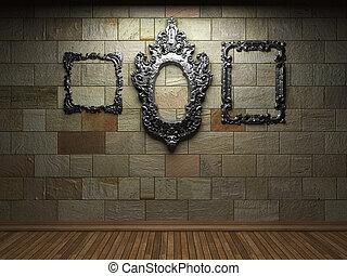 illuminated stone wall and frame - illuminated stone wall...
