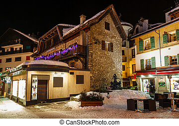 Illuminated Street of Megeve on Christmas Eve, French Alps,...