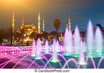 Illuminated Sultan Ahmed Mosque (Blue Mosque) before...