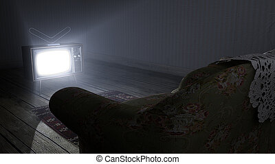 Illuminated Television And Lonely Old Couch
