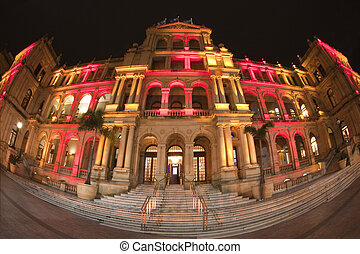 Illuminated Treasury Building Brisbane Australia