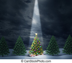 Illuminated Tree - Illuminated Christmas tree with a row of...