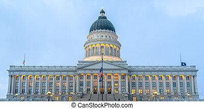Illuminated Utah State Capital Building in Utah