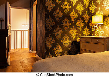 Illuminated vintage bedroom - Horizontal view of illuminated...