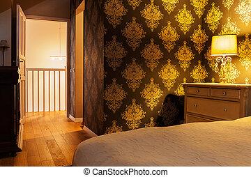 Illuminated vintage bedroom - Horizontal view of illuminated...