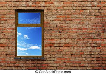 illuminated window on a brick wall 3d scene