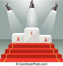 Illuminated winner pedestal with red carpet