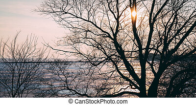 Illuminated Winter Sunset Over Lake Ontario