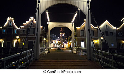 wooden bridge in european style at night