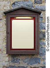 Illuminated wooden notice board