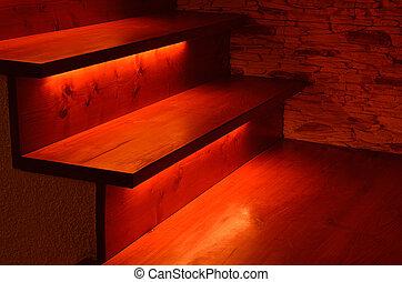 Illuminated wooden stairs