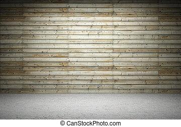 Illuminated wooden wall