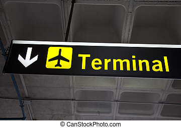 Illuminated Yellow Airport Terminal Sign