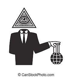 Illuminati conspiracy illustration - Illuminati conspiracy...
