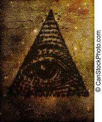 illuminati, oko, trójkąt, ilustracja