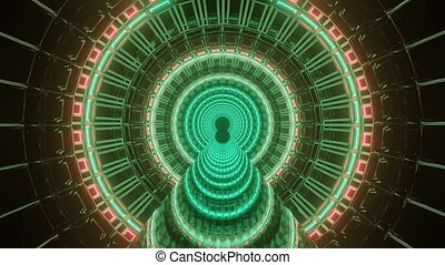 Illuminating Multicolored Spaceship Entrance 4k uhd 3d rendering vj loop