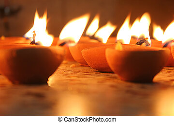 illuminating oil lamp diwali festival