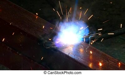 illumination due to metal welding. Slow motion. - In the...
