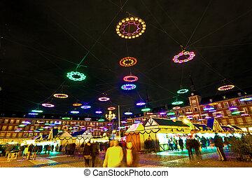 illumination in Madrids Christmas market at the Plaza major