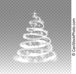 Illumination lights tree isolated on transparent background. Shiny Christmas tree from the garland.Template design. Christmas fir-tree with sparks.Vector illustration.