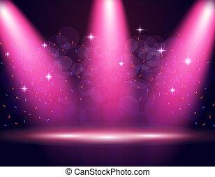 Illumination of the stage, podium, spotlights. Confetti is flying. Purple background. illustration