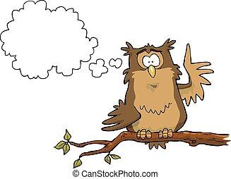 Illumination owl on a branch vector illustration