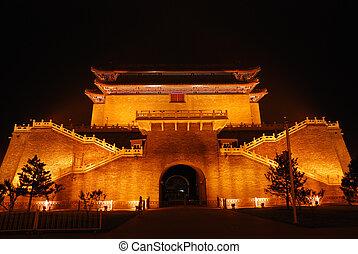 illumination, temple, nuit